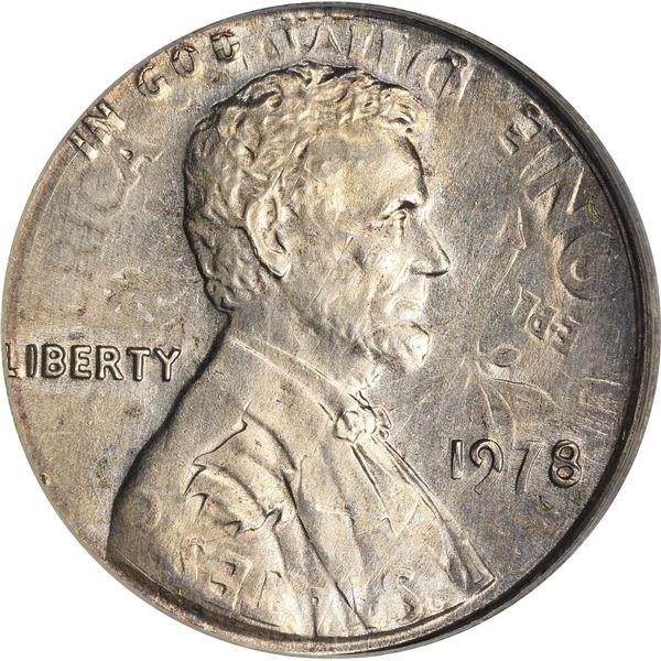 1978 1¢. Mint Error. Double Denomination. Lincoln Cent on Struck Roosevelt Dime. MS-62 PCGS.