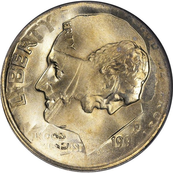 1991 1¢. Mint Error. Double Denomination. Lincoln Cent on Struck Roosevelt Dime. MS-67 PCGS