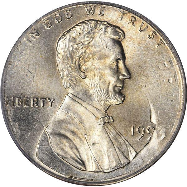 1993 1¢. Mint Error. Double Denomination. Lincoln Cent on Struck Roosevelt Dime. MS-66 PCGS.