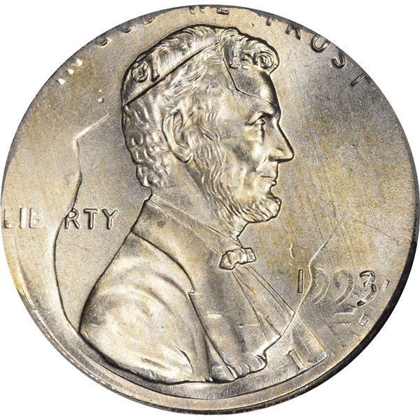 1993 1¢. Mint Error. Double Denomination. Lincoln Cent on Struck Roosevelt Dime. MS-65 PCGS.