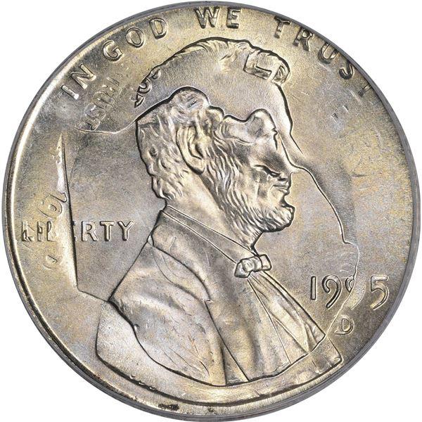 1995-D 1¢. Mint Error. Double Denomination. Lincoln Cent on Struck Roosevelt Dime. MS-66 PCGS.