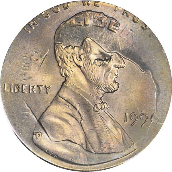 1996 1¢. Mint Error. Double Denomination. Lincoln Cent on Struck Roosevelt Dime. MS-66 PCGS.