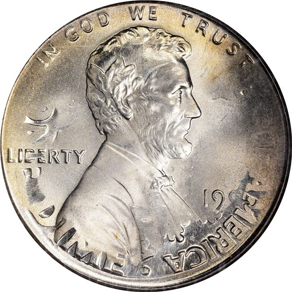 1996 1¢. Mint Error. Double Denomination. Lincoln Cent on Struck Roosevelt Dime. MS-66 NGC.