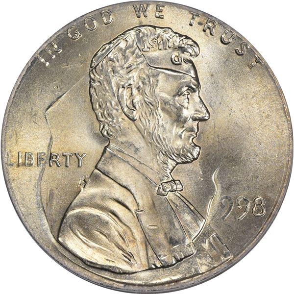1998 1¢. Mint Error. Double Denomination. Lincoln Cent on Struck Roosevelt Dime. MS-66 PCGS.
