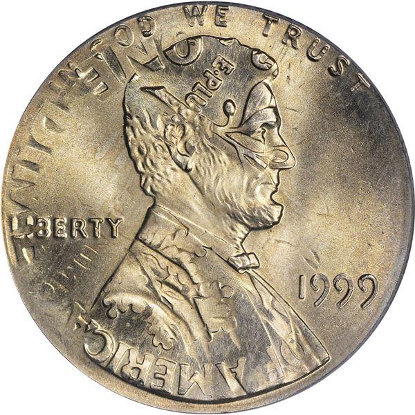 1999 1¢. Mint Error. Double Denomination. Lincoln Cent on Struck Roosevelt Dime. MS-66 PCGS.