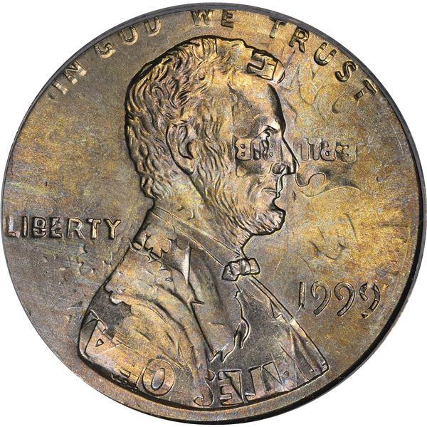 1999 1¢. Mint Error. Double Denomination. Lincoln Cent on Struck Roosevelt Dime. MS-65 PCGS.