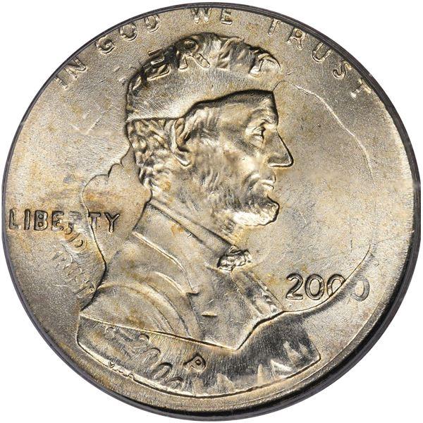 2000 1¢. Mint Error. Double Denomination. Lincoln Cent on Struck Roosevelt Dime. MS-66 PCGS.