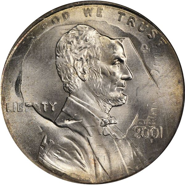 2001 1¢. Mint Error. Double Denomination. Lincoln Cent on Struck Roosevelt Dime. MS-67 NGC.