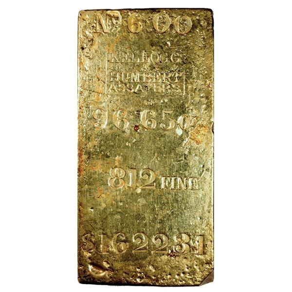 California. San Francisco. Kellogg & Humbert. Undated Gold Ingot (circa 1857). CAGB #471. Serial No.
