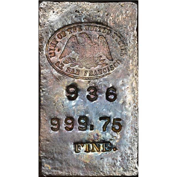 Undated (1940s)  San Francisco Mint Silver Ingot. #936. Type-1 Hallmark, 16.15 Ounces. .999.75 Fine