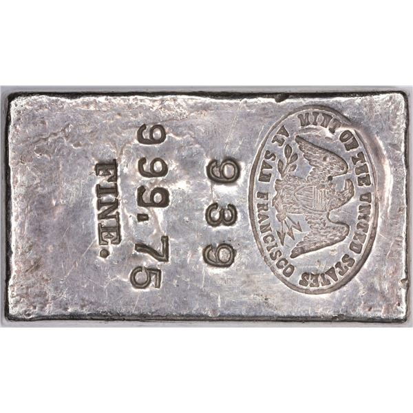 Undated (1940s) San Francisco Mint Silver Ingot. #936. Type-1 Hallmark. 16.15 Ounces. .999.75 Fine