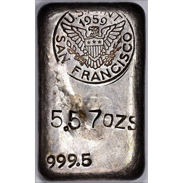 1959 San Francisco Mint Ingot: No Serial Number, Round Dated Hallmark, 5.57 ounces.  999.5 Fine