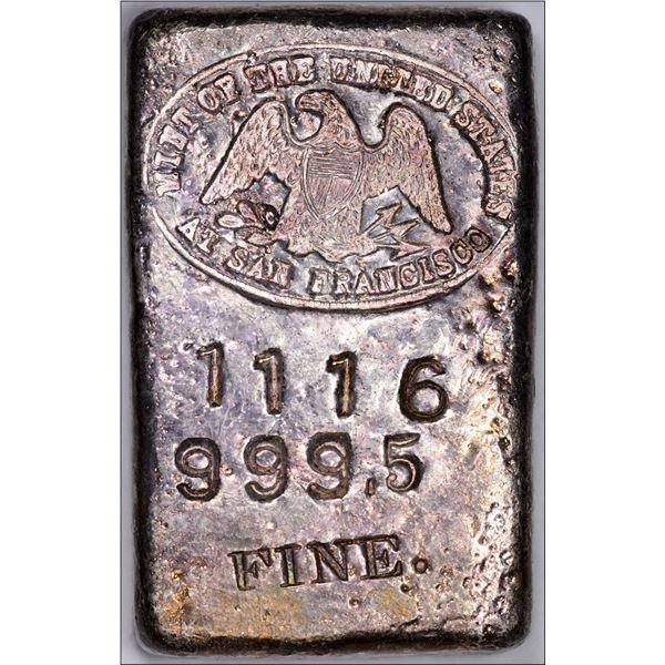 Undated (1940s) San Francisco Mint Ingot: Serial #1116, Type-1 Hallmark, Small Font, Curved 9's, 5.4