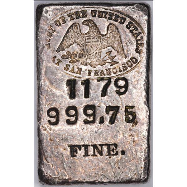 Undated (1940s) San Francisco Mint Ingot: Serial #1179, Type-1 Hallmark, Small Font, Curved-9s, 5.88