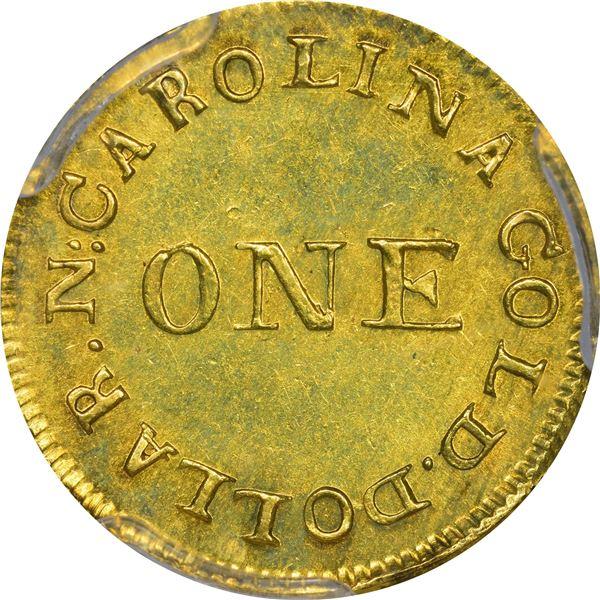 Undated (1831-1834) C. Bechtler Gold $1. Kagin-1. Rarity-4. 30 G. Reeded Edge. MS-62 PCGS. CAC.