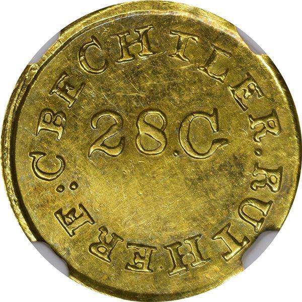 Undated (1834-1837) C. Bechtler Gold $1. Kagin-2. Rarity-6+. 28 G., High.  Reeded Edge. MS-61 NGC. C