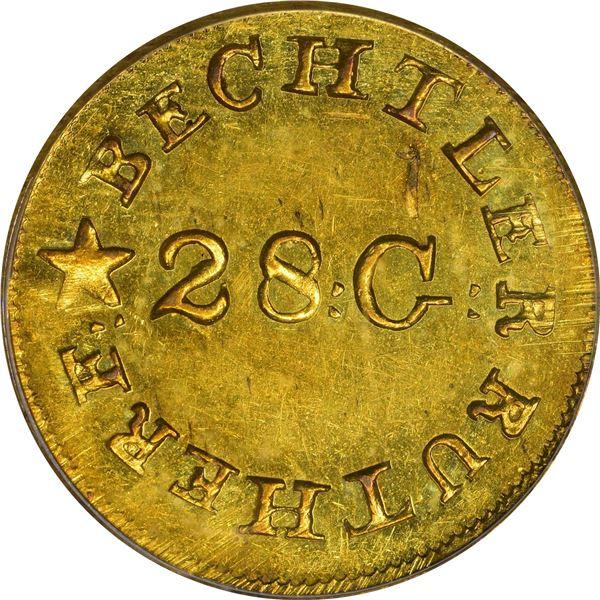 Undated (1834-1837) C. Bechtler Gold $1. Kagin-4. Rarity-4. 28: G: Centered, Reversed N. Plain Edge.