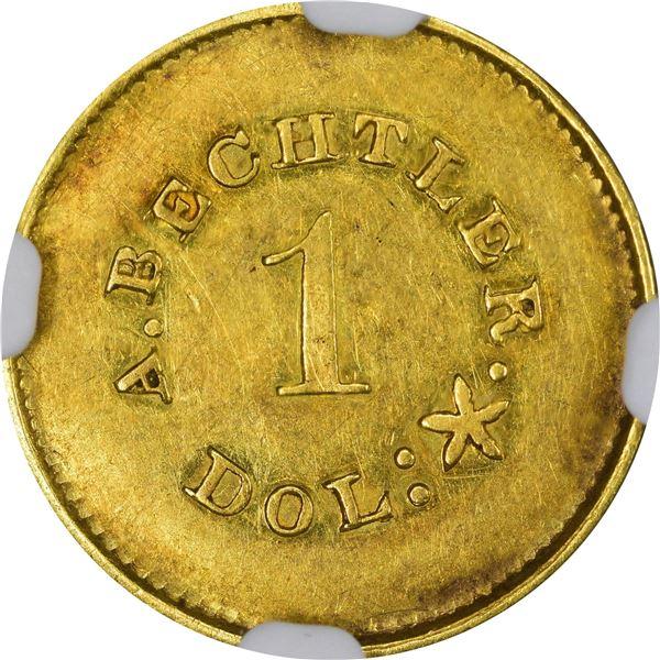 Undated (1842-1850) A. Bechtler Gold $1. Kagin-24. Rarity-3. Plain Edge. AU-58 NGC. CAC