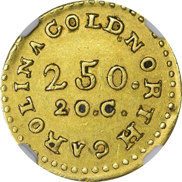 Undated (1831-1834) C. Bechtler Gold $2.50. Kagin-6. Rarity-7. No 75 G, Coarse Beads. Reeded Edge. A