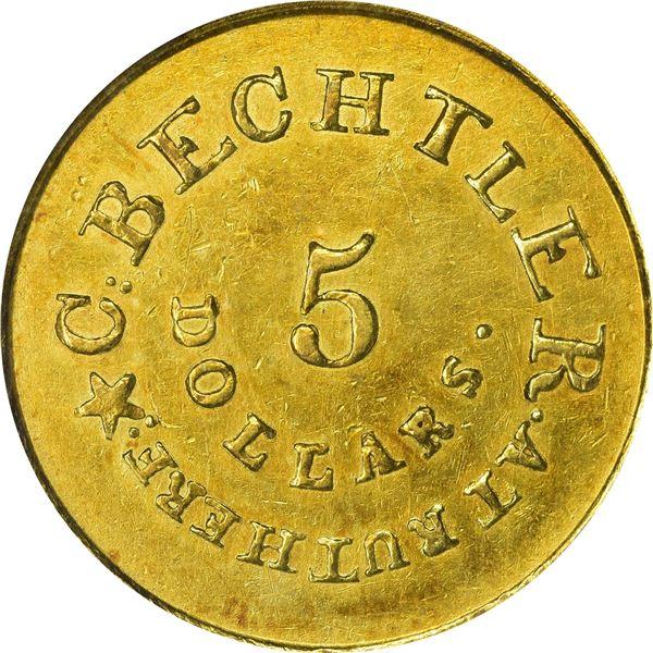 Undated (1834) C. Bechtler Gold $5. Kagin-20. Rarity-5. With 134. G., Star. Plain Edge. AU-50 PCGS.