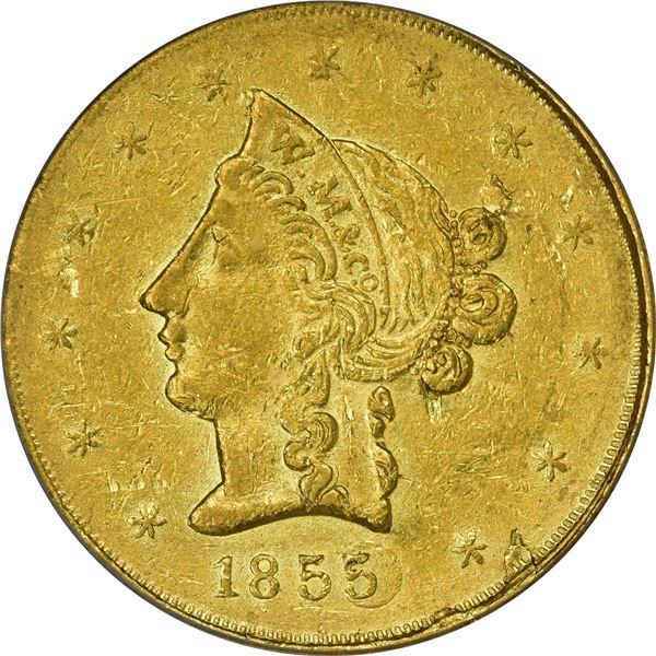 1855 Wass, Molitor & Co. Gold $10. Kagin-6. Rarity-7. Plugged 5. AU-53 PCGS