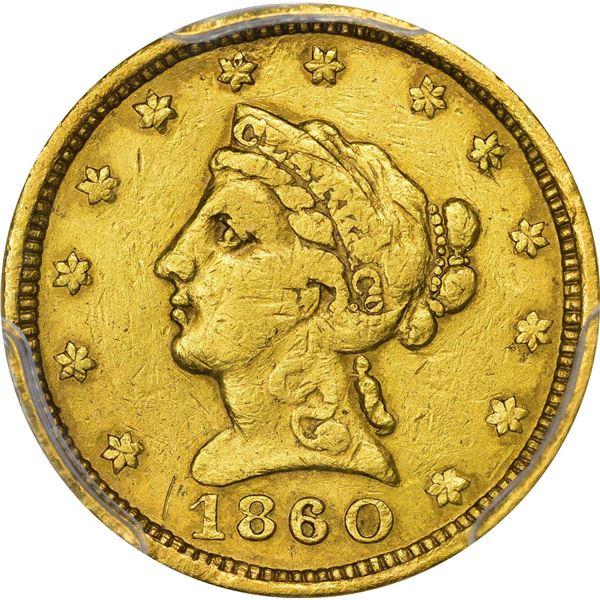 1860 Clark, Gruber & Co. Gold $2.50. Kagin-1. Rarity-4. PCGS Genuine – VF Details – Damage.