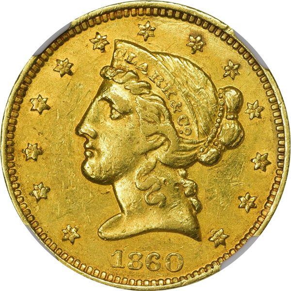 1860 Clark, Gruber & Co. Gold $5. Kagin-2. Rarity-4. MS-61 NGC.