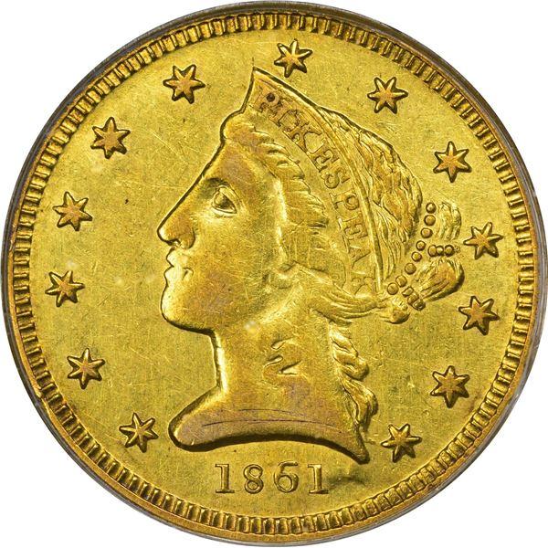 1861 Clark, Gruber & Co. Gold $5. Kagin-6. Rarity-4. AU-50 PCGS.