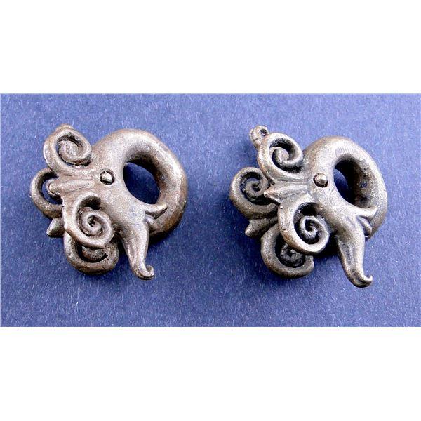 Brass, Silver Earrings