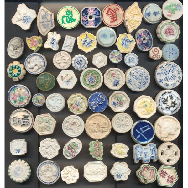 Collection of Siamese Porcelain Tokens