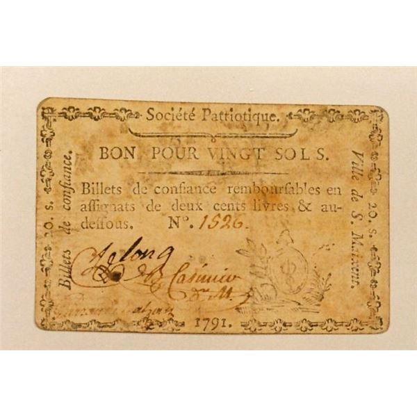 1791 Playing Card Money