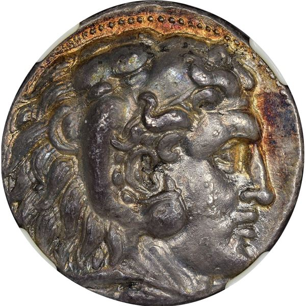 Kingdom of Macedon. Alexander III, the Great. 336-323 BC Silver Tetradrachm. Posthumous. AU NGC.