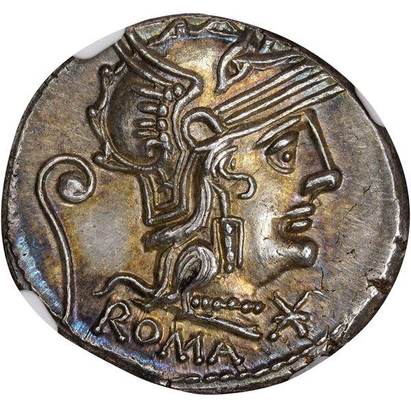 Rome. Republic. C. Servius Vatia. Circa 127 BC Silver Denarius. Choice Mint State* NGC.