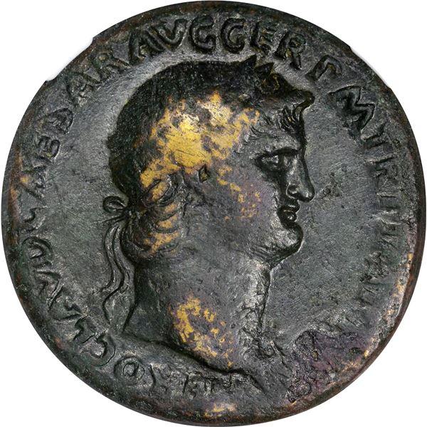 Rome. Empire. Nero. AD 54-68 Bronze Sestertius. Fine NGC.