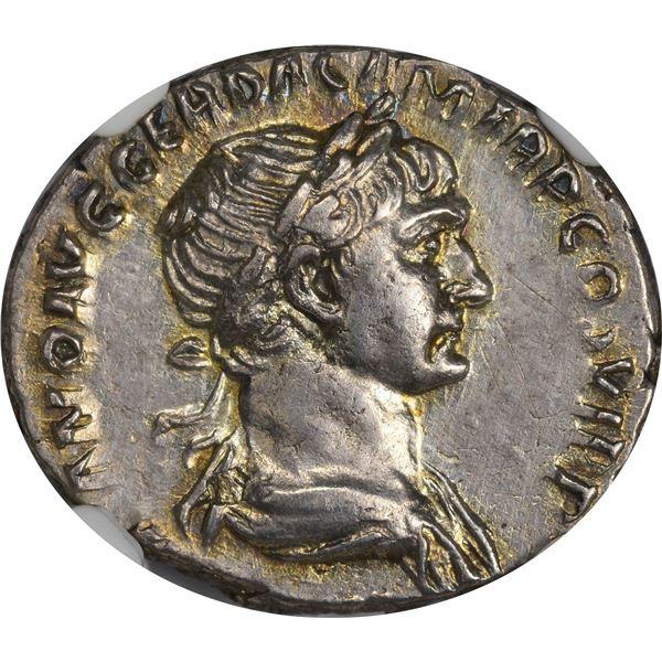Rome. Empire. Trajan. AD 98-117 Silver Denarius. AU NGC.