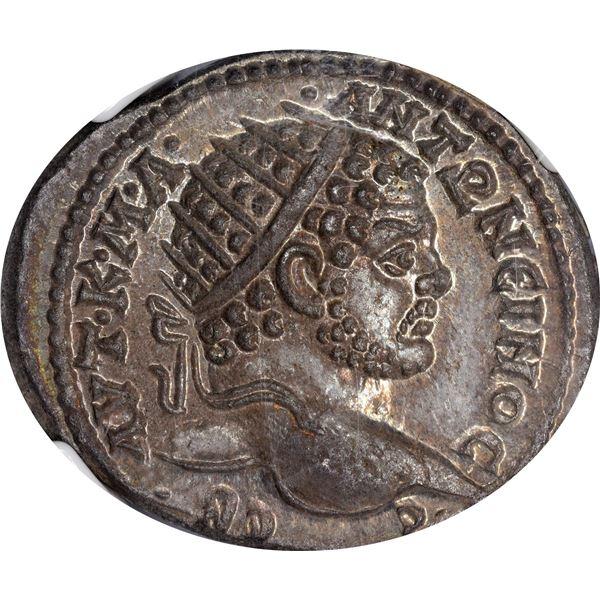 Rome. Carrhae, Mesopotamia. Caracalla. AD 198-217 Billon Tetradrachm. Choice Mint State NGC.