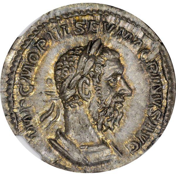 Rome. Empire. Macrinus. AD 217-218 Silver Denarius. Long Beard Type. Choice AU NGC.