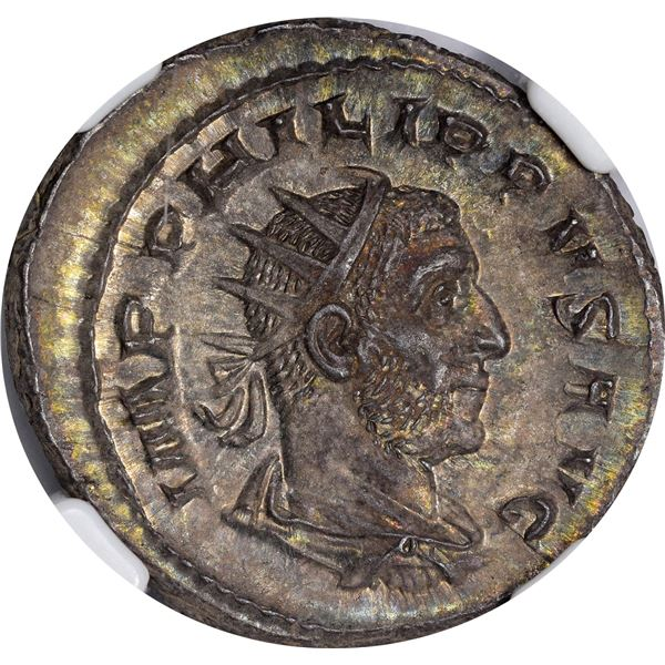 Rome. Empire. Philip I. AD 244-249 Silver Double Denarius. Choice AU NGC.