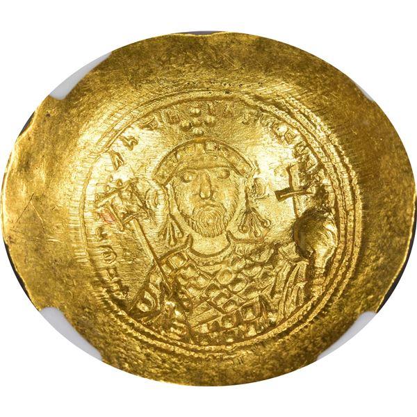 Byzantine Empire. Constantine IX. AD 1042-1055 Gold Histamenom Nomisma. Mint State NGC.