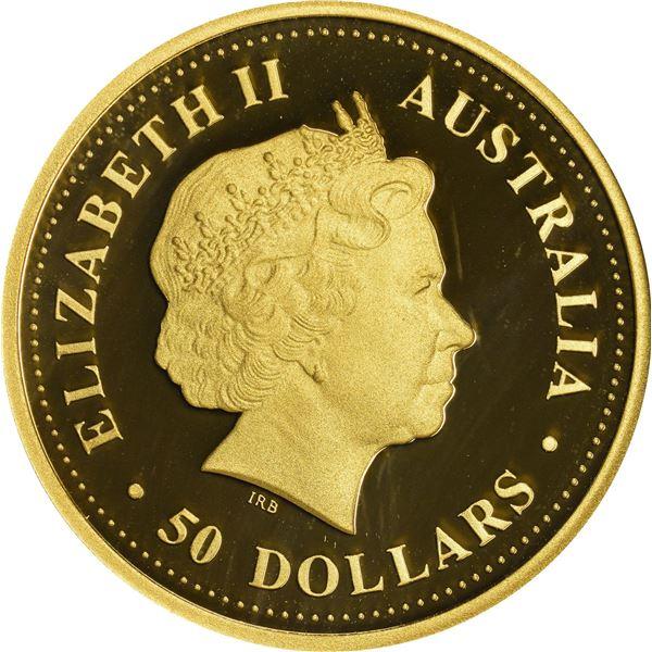 Australia. Elizabeth II. 2008 Gold $50. Discover Australia Series. Dolphin. ½ Ounce. .9999 Fine. One