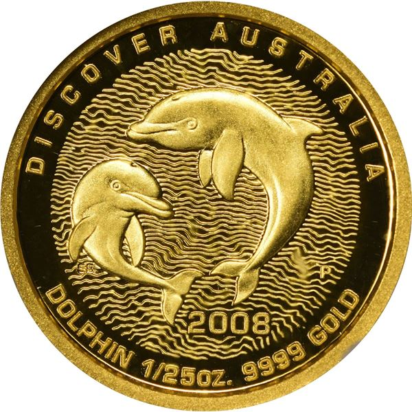 Australia. Elizabeth II. 2008 Gold $5. Discover Australia Series. Dolphin. 1/25th Ounce. .9999 Fine.