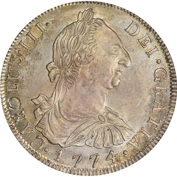 Bolivia. Colonial. Carlos III. 1774-PTS JR 8 Reales. KM-55. MS-65 PCGS.