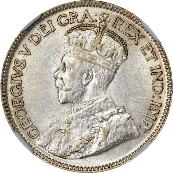 Canada. George V. 1936 25¢. Dot Below Bow. KM-24a. AU-58 NGC.