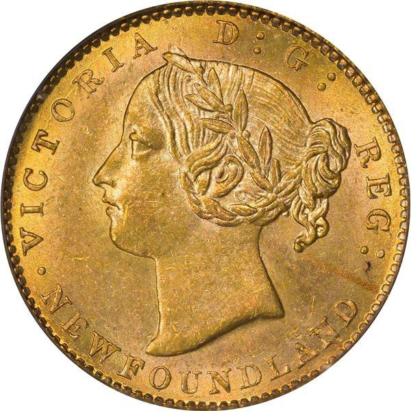 Newfoundland. Victoria. 1885 Gold $2. KM-5. AU-58 PCGS.
