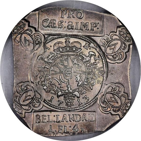 German States. Landau. 1713 Florin or 4 Kreuzer. KM-12. Klippe. Uniface. MS-64 NGC.