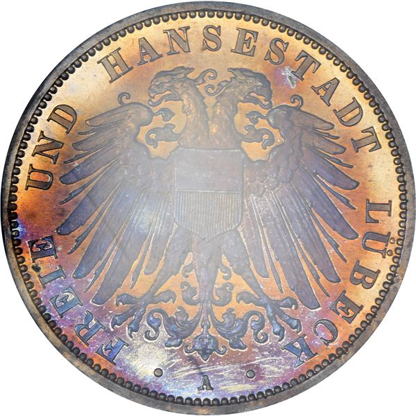 German States. Lubeck. 1908-A 3 Marks. Berlin Mint. KM-215. Proof-66 NGC.