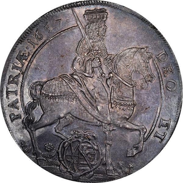 German States. Saxony. Johan Georg II. 1657 Thaler. Davenport-7630. MS-65 NGC.