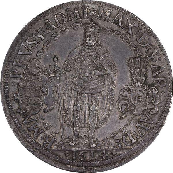 German States. Teutonic Order. 1614 Triple Thaler. Dav-5854. AU-58 NGC.