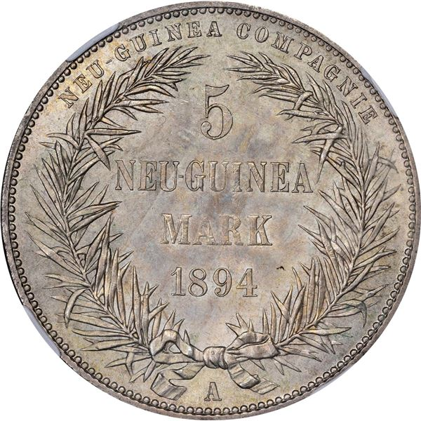 German New Guinea. 1894-A 5 Marks. Berlin Mint. KM-7. MS-65 NGC.