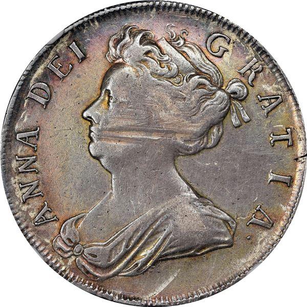 England. Anne. 1705 Half Crown. Plumes. S-3581, ESC-571. VF-35 NGC